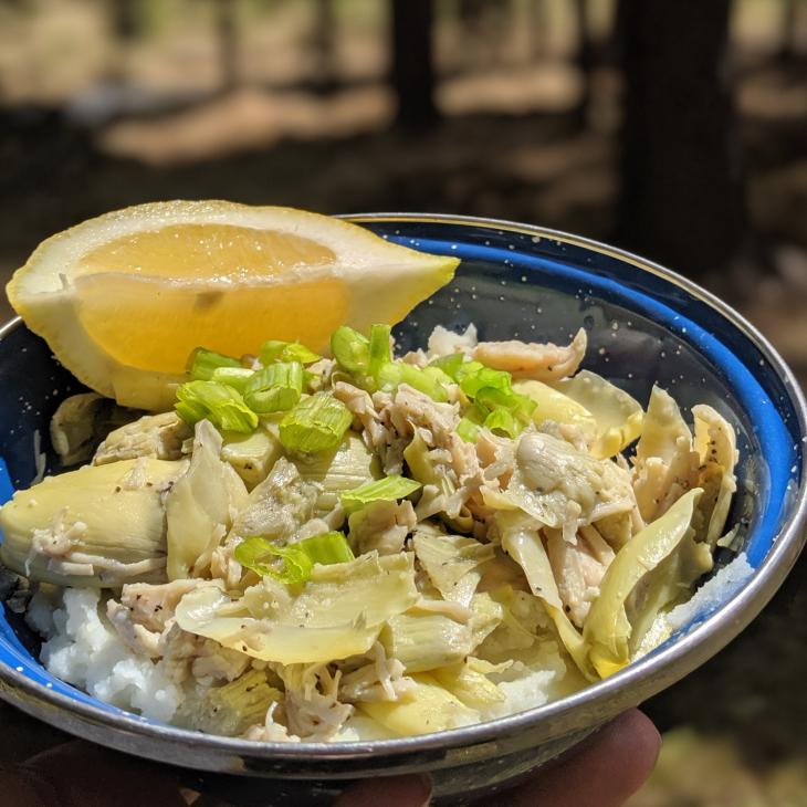 MONTyBOCA Garlic Chicken with Artichokes and Mashed Potatoes